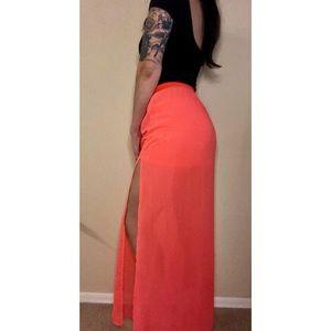 💥2/$14💥 Neon pink chiffon maxi skirt